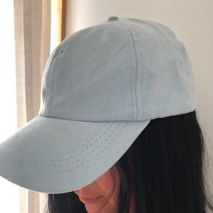 Baby blue suede baseball cap